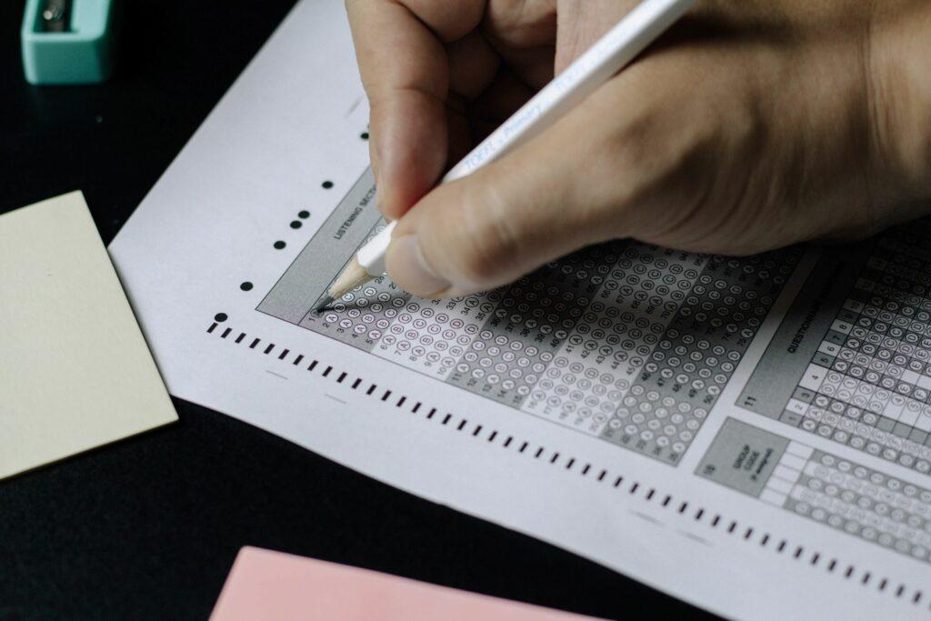 student taking standardized test